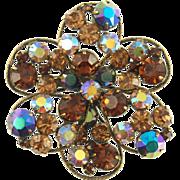 Vintage Signed Regency Topaz Floral Pin