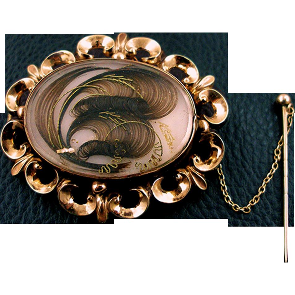 Antique Victorian 10K Memorial Hair Brooch