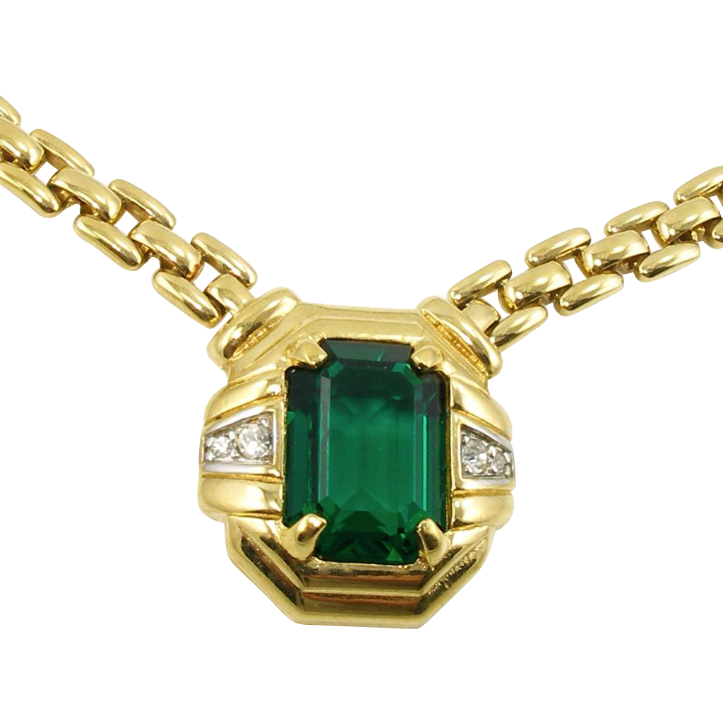 Vintage Nina Ricci Faux Emerald and Diamond Necklace