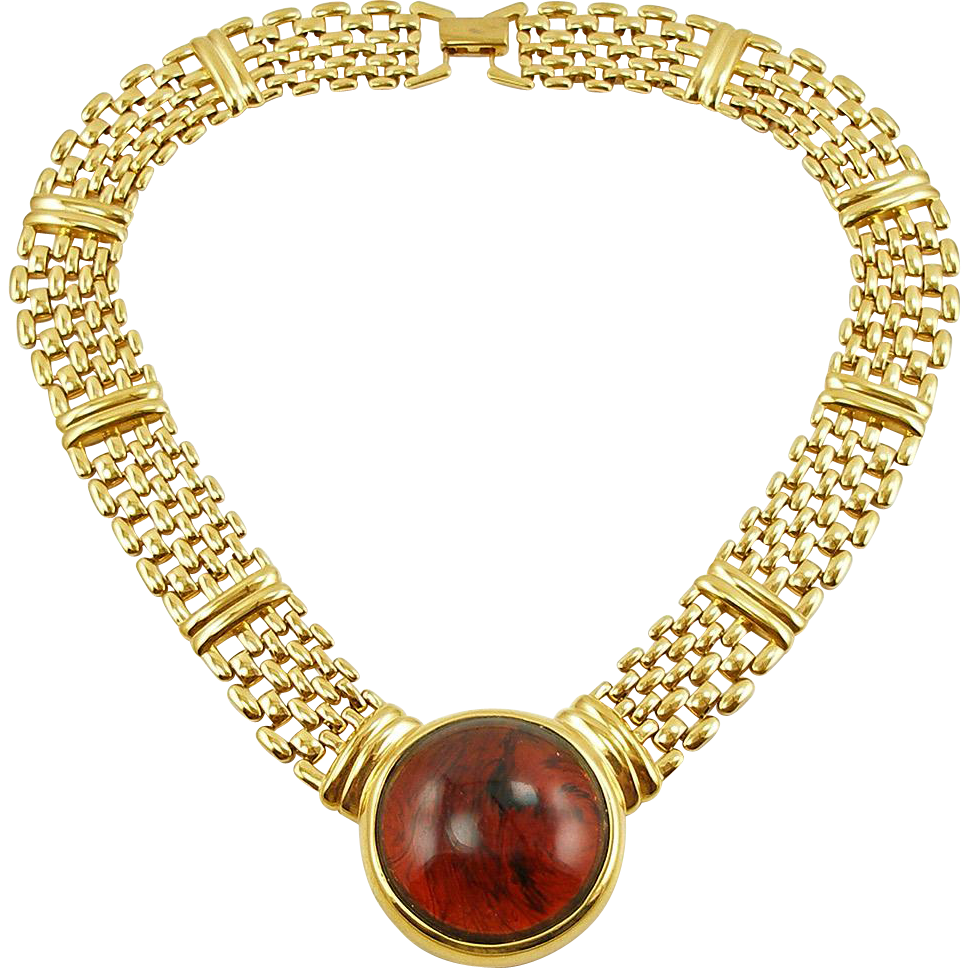 Vintage Signed Napier Faux Tortoise Necklace