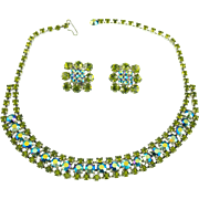 Vintage Unsigned Sapphire Aurora Borealis & Olivine Rhinestone Demi Parure