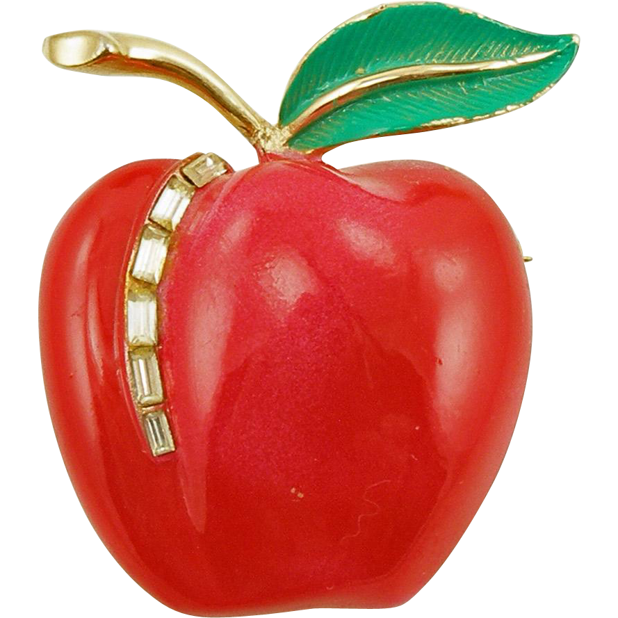 Vintage Signed Pastelli Enameled Apple Pin