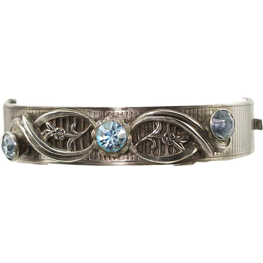 Vintage Harry Iskin Sterling Bracelet with Blue Rhinestones