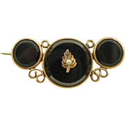 Antique Gold Filled Onyx Pin
