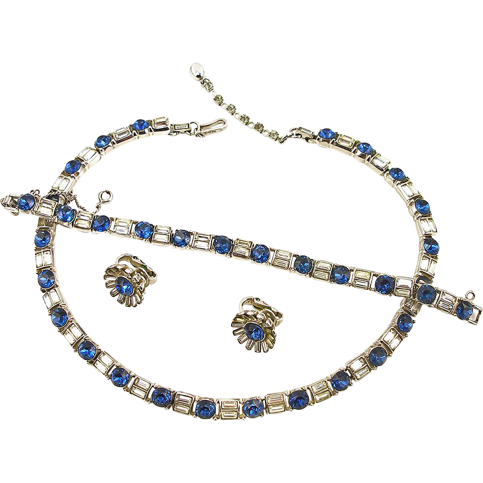 Vintage Signed Trifari Faux Diamond and Sapphire Parure