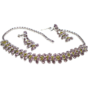 Vintage Lilac and Peridot Rhinestone Demi Parure