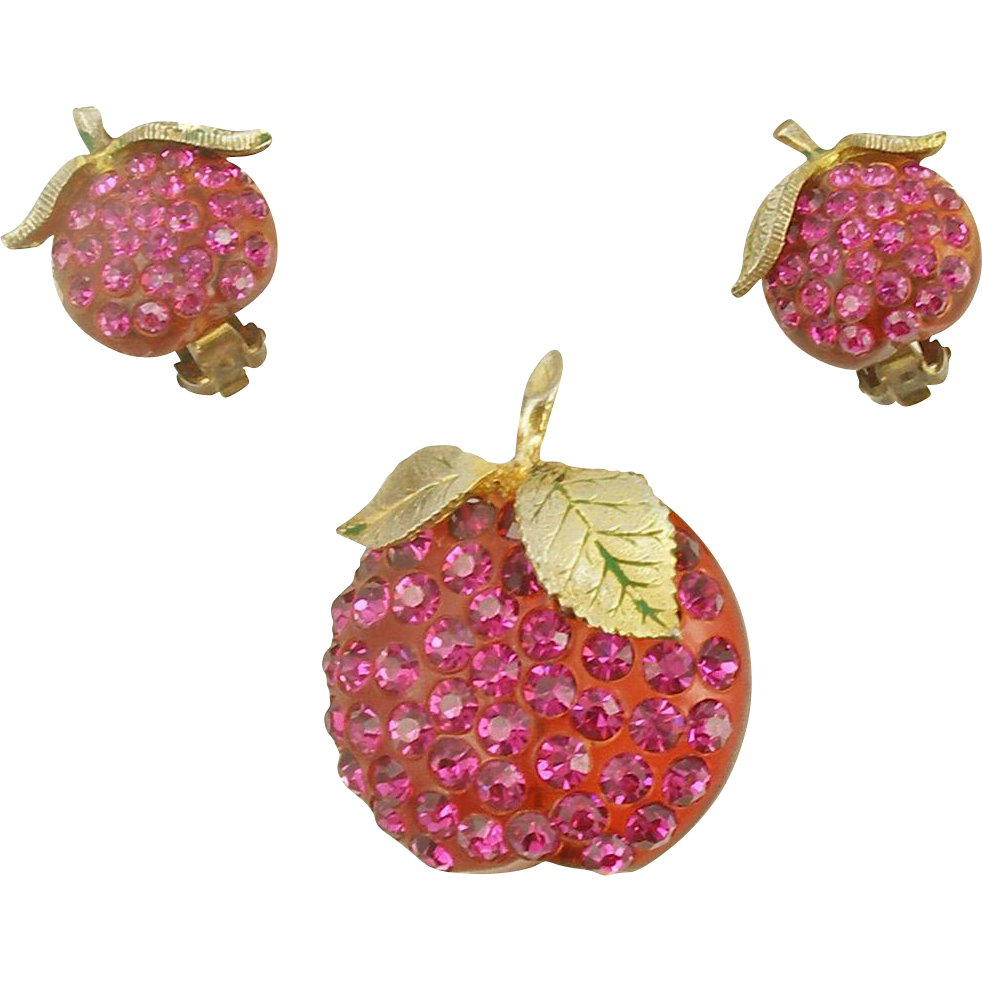 Vintage Austrian Forbidden Fruit Apple Pin and Earrings Set
