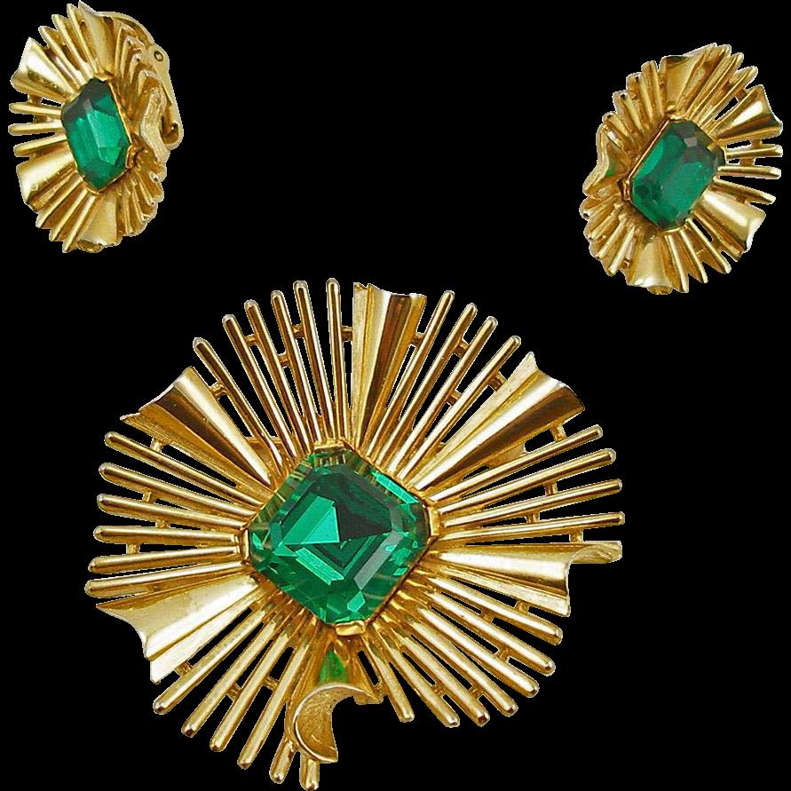 Vintage Signed Trifari Faux Emerald Ruffle Demi Parure