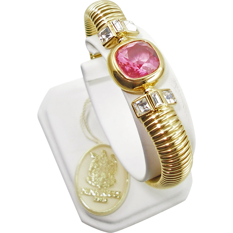 Vintage Signed Nina Ricci Pink & Crystal CZ Bracelet