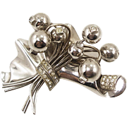 Vintage Sterling 3D Floral Brooch with Rhinestones