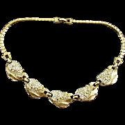 Vintage Signed Reja Pavé Leaf and Flower Bud Necklace