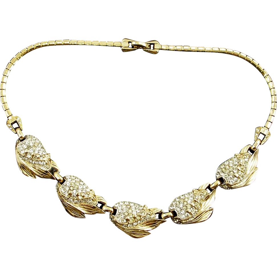 Vintage Signed Reja Pavé Leaf and Flower Bud Necklace