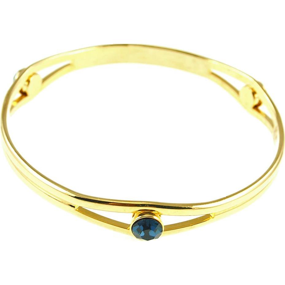 Unsigned Faux Sapphire Bangle Bracelet