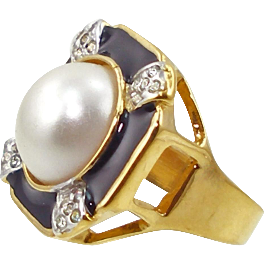 Signed Vintage Joseph Esposito Faux Pearl Ring