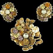 Vintage Unsigned Brass Fruit & Beads Demi Parure