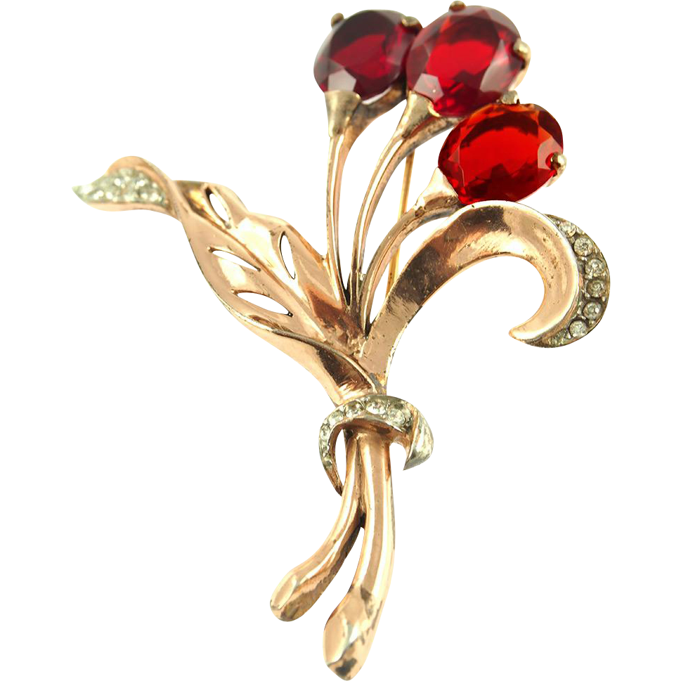 Vintage Signed Reja Sterling Red Floral Pin or Brooch