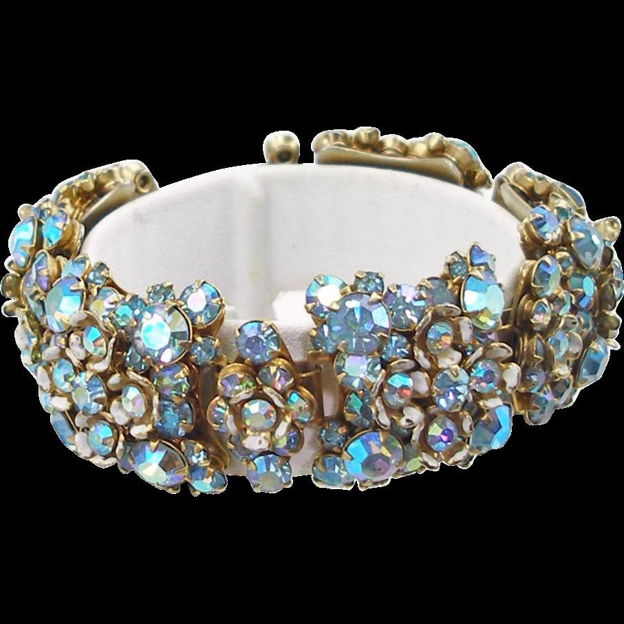 Unsigned Vintage Blue Floral Bracelet