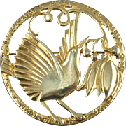 Vintage Large Gold Washed Sterling Bird Pin