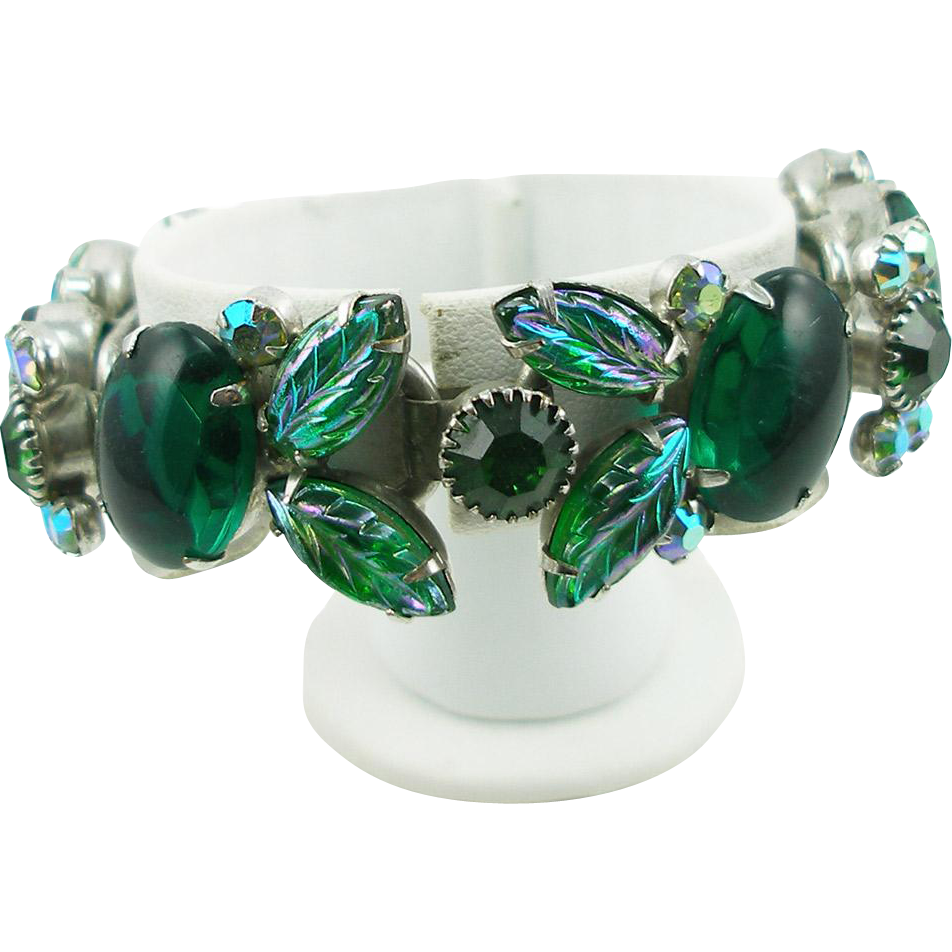 DeLizza & Elster Juliana Green Molded Leaf Bracelet