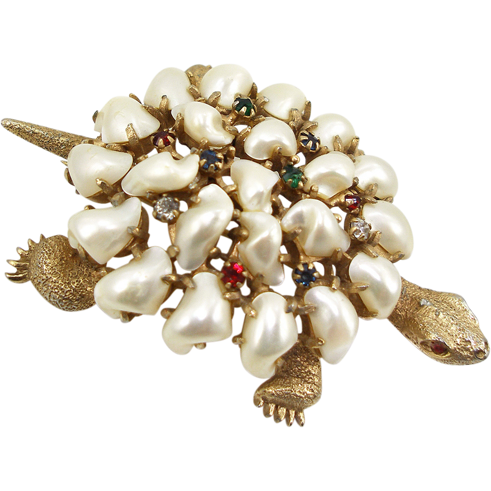 Vintage DeRosa Faux Pearl Turtle Pin