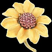 Vintage Signed BSK Enameled Flower Pin
