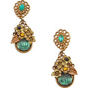 Vintage Lite Weight Faux Brass & Stones Dangle Clip Earrings