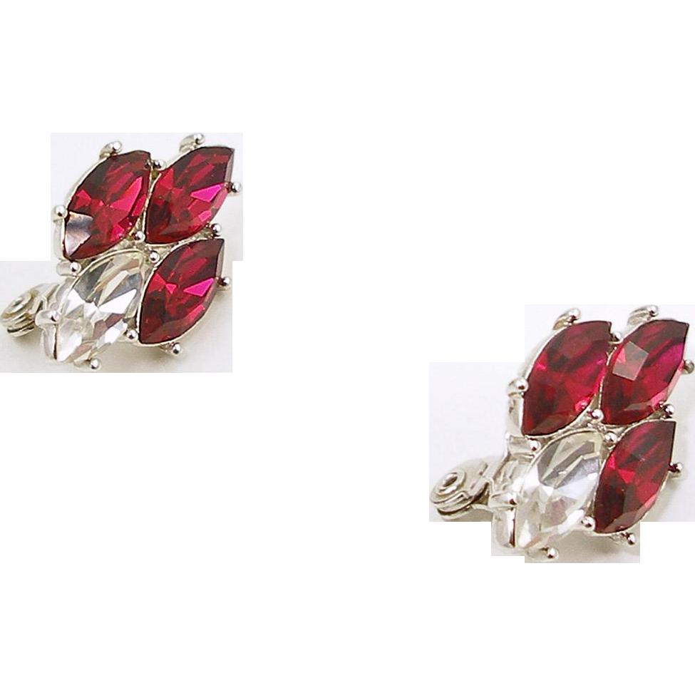 Vintage Yves St. Laurent Faux Ruby Earrings