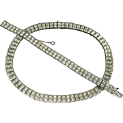 Vintage Art Deco Square Rhinestone Necklace and Bracelet Set