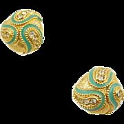 Vintage Domed Enamel and Rhinestone Clip Earrings