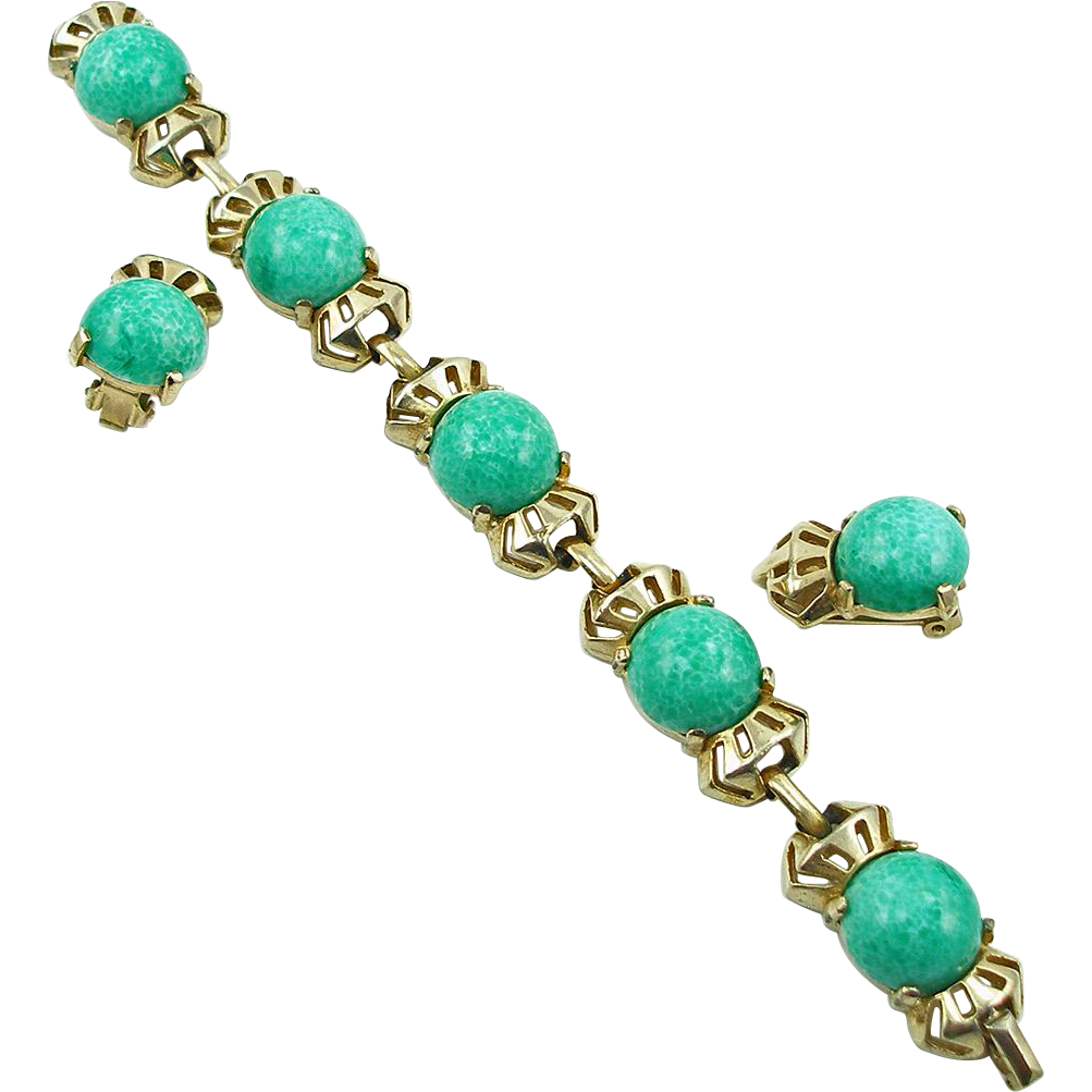 Vintage Faux Jade Bracelet and Earrings Demi Parure