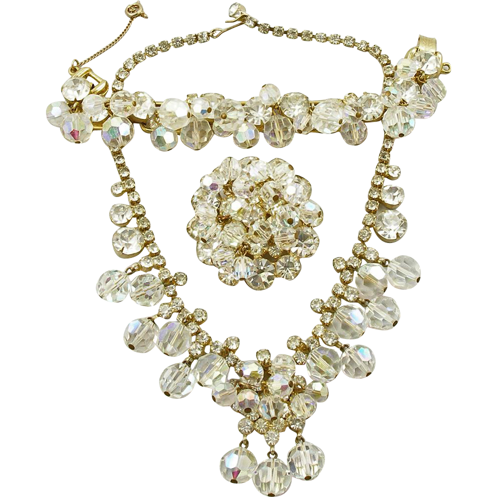 Vintage Juliana Faceted Crystal Bead & Rhinestone Parure