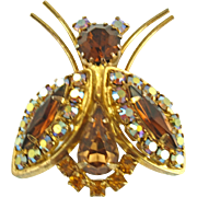 Vintage Unsigned Faux Topaz Insect Pin