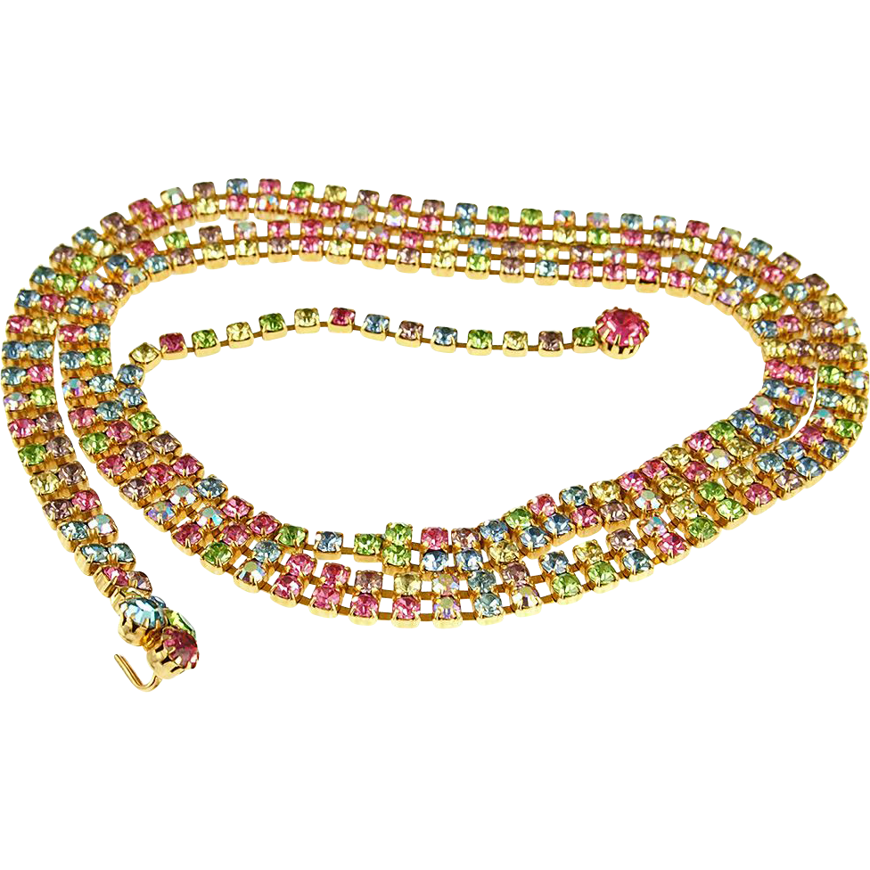Vintage Rhinestone Belt or Necklace in Pastel Colors