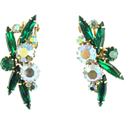 Vintage Unsigned Emerald Green & Aurora Borealis Clip Earrings