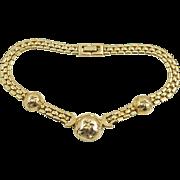Vintage Signed Brookcraft Golden Dome Necklace