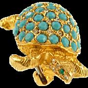 Vintage KJL Faux Turquoise Turtle Pin