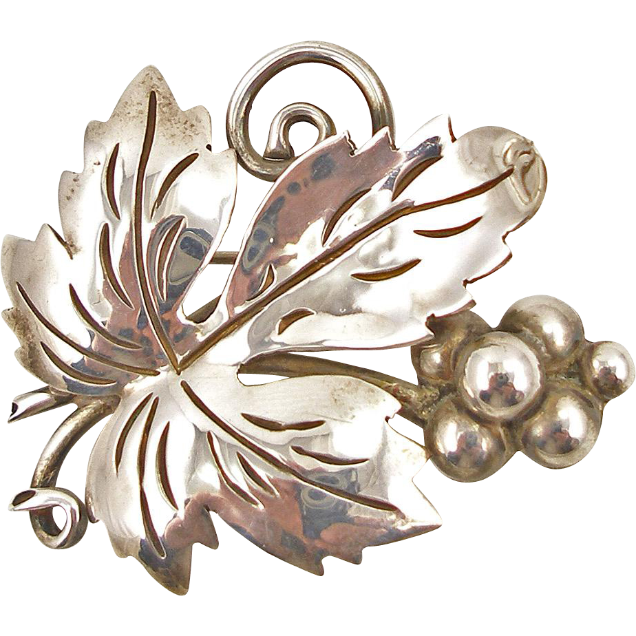 Vintage Mexican Sterling Leaf with Berries Pin