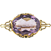 Vintage Art Nouveau Pin with Amethyst Colored Glass Stone