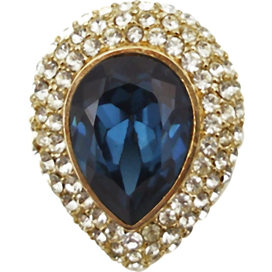 Vintage Signed Ciner Faux Sapphire and Diamond Pin