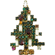 Vintage Signed Weiss 5 Candle Christmas Tree Pin