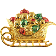 Vintage Napier Christmas Sleigh Pin