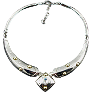 Vintage Piscitelli Articulated Silver Tone Necklace