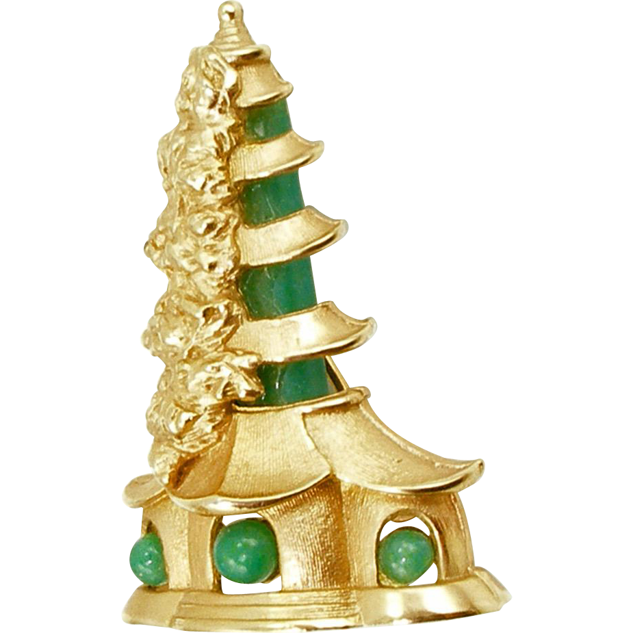 Unsigned Vintage Pagoda Pin with Faux Jade
