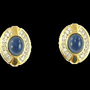 Vintage Faux Sapphire Cabochon Clip Earrings