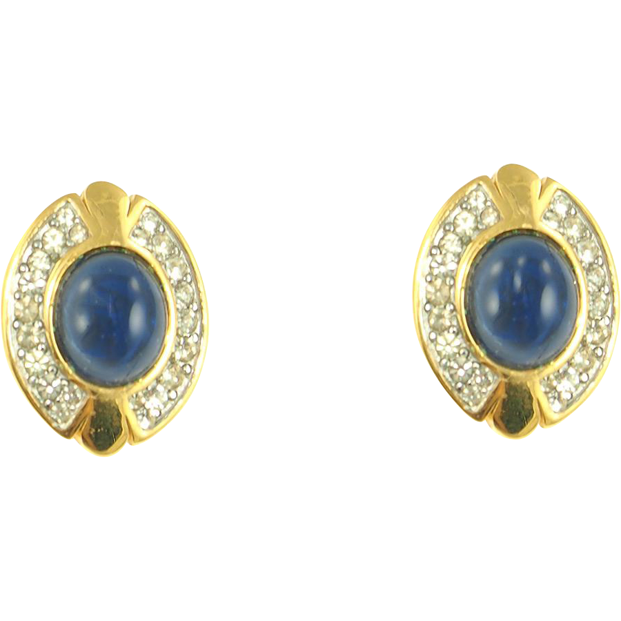 Vintage Faux Sapphire Cabochon Clip Earrings