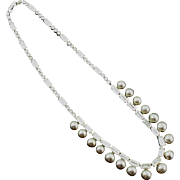 Vintage Kramer Faux Pearl and Rhinestone Necklace