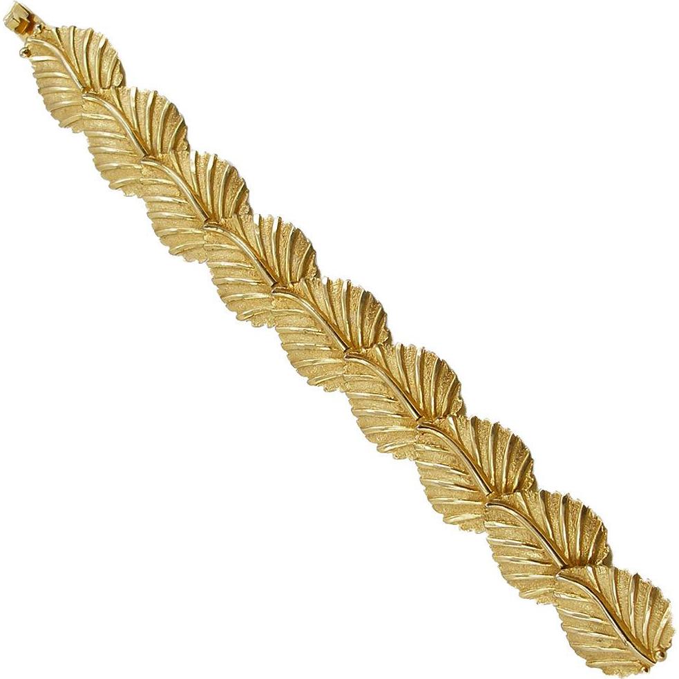 Vintage Signed DeNicola Leaf Link Bracelet
