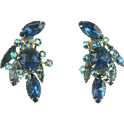 Vintage Beau Jewels Blue Floral Clip Earrings