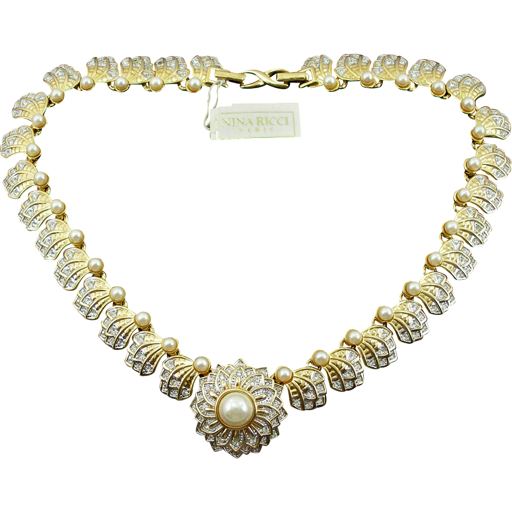 Vintage Signed Nina Ricci Faux Diamond & Faux Pearl Necklace