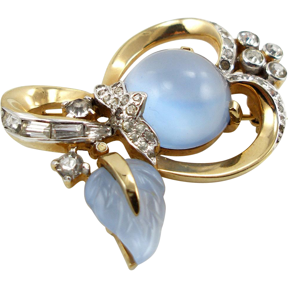 Vintage Signed Mazer Faux Moonstone Pin